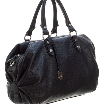 Condotti-Large Leather Bowler Handbag-Black