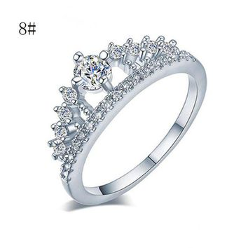 DCCKJY1 2017 New Fashion Gold Pretty Crown Lady Crystal Ring Princess Ring