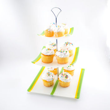 Tiered Serving Tray, 3 Tier Cake Stand, Cupcake Display, Fused Glass, Spring Colors, Wedding Accessories, Unique Kitchen Decor, Square Plate