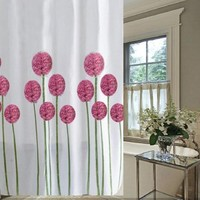Fashionmall2015 Printed shower curtain Waterproof Shower Curtain with Hooks (72-Inch by 72-Inch, Pink flower)