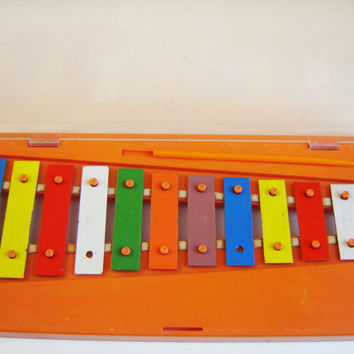 Vintage Tune Xylophone from 70s - 80s,Vintage Fisher Price Xylophone in original box, Retro Toy