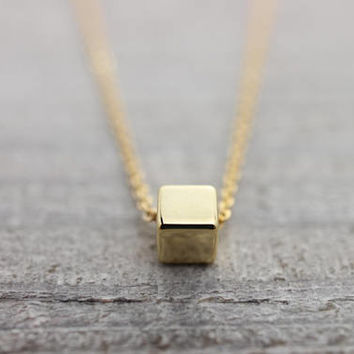 Tiny gold cube necklace
