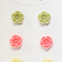 Flower Stud Earrings - Set of 3 Cherry Blossom Earrings in Pink, Green, and Cream - Miniature Sakura Jewelry
