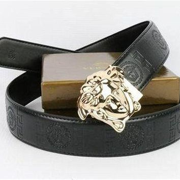 DCCK8X2 Versace Collection Gold-Buckle Black-leather Versace Belt