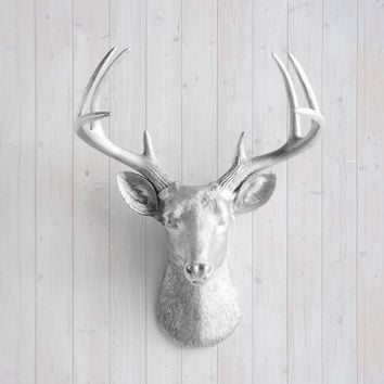 The Virginia Large Silver Faux Taxidermy Resin Deer Head Wall Mount | Silver Stag w/ Colored Antlers