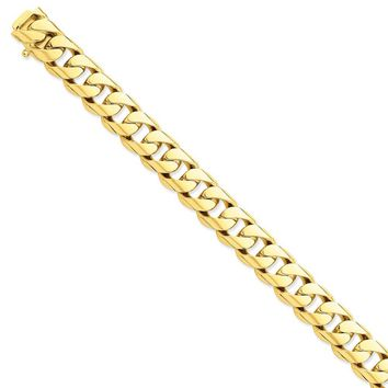 14k Yellow Gold 13.00mm Men Rounded Curb Chain Bracelet - Fine Jewelry Gift