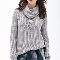 FOREVER 21 Open-Knit Cowl Neck Sweater