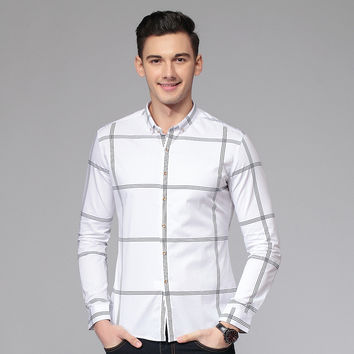 Summer Long Sleeve Stylish Slim Plaid Men Shirt Men's Fashion England Style Blouse [6543943107]