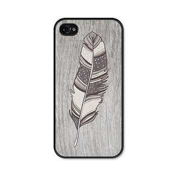Brown Boho Feather iPhone 5 Case - Plastic iPhone 5 Case - Wood Tribal Southwest iPhone 5 - Tan Cream Cell Phone Case For Him Thanksgiving