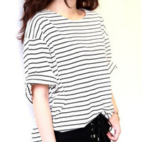 Summer Women Loose T-Shirt Casual Loose Striped Black/White Vintage Tops Tee