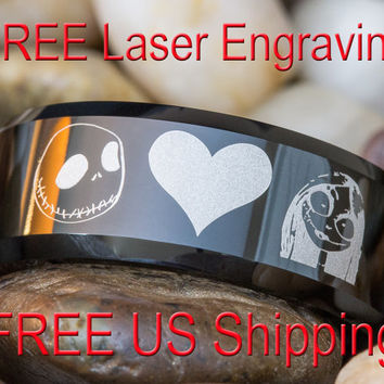 Tungsten Carbide Band 8mm Black Beveled Jack and Sally Heart Design Ring Sizes 3-17- Free Inside Engraving and Shipping