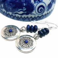 Tibetan Symbol Lapis Lazuli Gemstone Sterling Silver Dangle Earrings