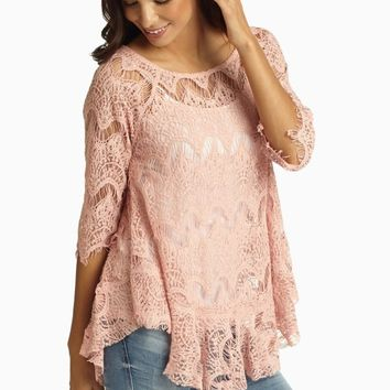 Dusty Pink Lace 3/4 Sleeve Blouse