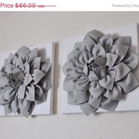 "MOTHERS DAY SALE Two Wall Flowers -Gray Dahlia on White- 12 x12"" Canvas Wall Art- Baby Nursery Wall Decor-"