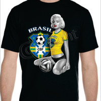 Sexy Monroe Brazil World Cup T-shirt Men's Women's Brazil 2014