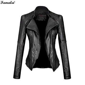 FANALA 2017 Faux Leather Jacket Women Motorcycle Autumn Winter Outerwear Coats Short Zipper Long Sleeve Slim Fitted Jackets#30 Macchar Cosplay Catalogue