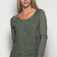 Olive Lace Top