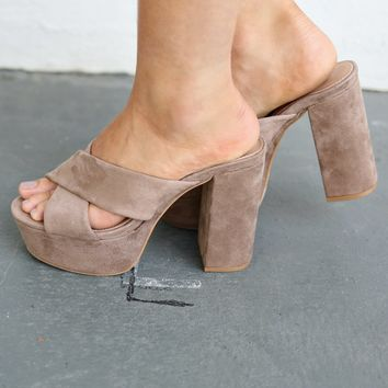 Need Your Love Taupe Peep Toe Heels