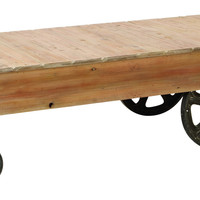 WOOD CART COFFEE TABLE UTILITY ITEM USED OFTEN