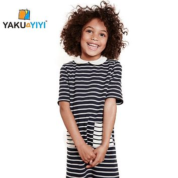 yakuyiyi 2017 New design girls classic black and white striped dress doll collar knitted Preppy Style Children'S Clothing