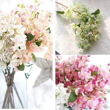 Hot Sale 1 Bouquet Wedding Cafe Shop Bridal Fake Artificial Cherry Blossom Flower Decor