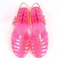 Wild Diva Gia-01 Clear Neon Jelly Sandals | MakeMeChic.com