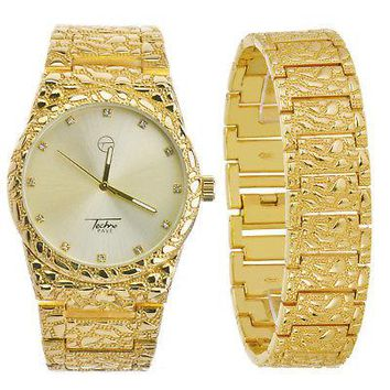 Jewelry Kay style Men's Nugget Analog Iced Out Heavy Metal Band Watch & Bracelet SET  WM 8364 G