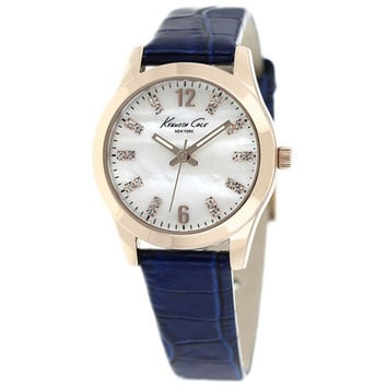 Kenneth Cole KCW2014 Women's New York MOP Dial Gold Steel Blue Leather Strap Watch