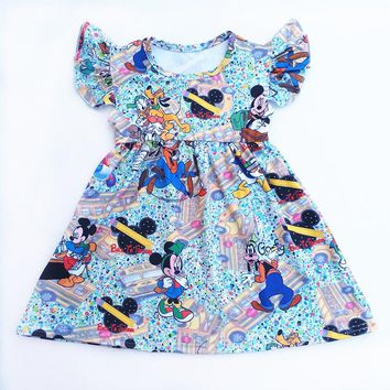 New 2018 Summer Dress Blue Mickey Mouse Short Sleeve Dress Baby Kids Girls Boutique Clothing Milk Silk 9M to 7T Available