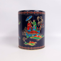 Vintage Black Biscuit Tin Daher Oriental Asian Round Lidded Container Made in England Tea Tin