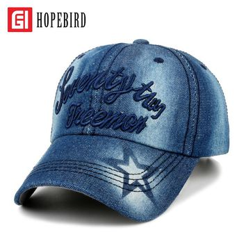 HOPEBIRD Letter Casual Spring Fashion Cotton Baseball Cap Women Outdoors Sunscreen Sun Hat Cowboy Embroidery Summer Cap Unisex