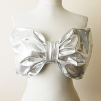 Bikini, Metallic Grey Bow Swimsuit, Bow Bikini, Bow Bandeau Top, Bathing Suit, Sparkly Swemwear