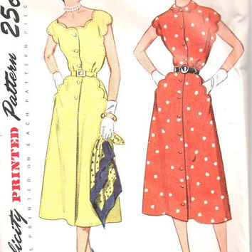 Simplicity 3253 Sewing Pattern 1950s Tea Garden Party Dress Scalloped Neckline Button Front Casual Day Style Bust 36