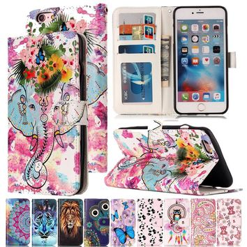Varnish Relief Leather Case For iPhone 6 6s Cover Leather Flip Wallet Phone Case For iPhone 6 Plus 6s Plus Mobile Phone Shell