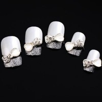 Yesurprise White Jewel Bow Tie 10 pieces Silver 3D Alloy Nail Art Slices Glitters DIY Decorations