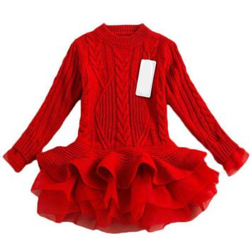 Warm Knitted Toddler Tutu Sweater Dress