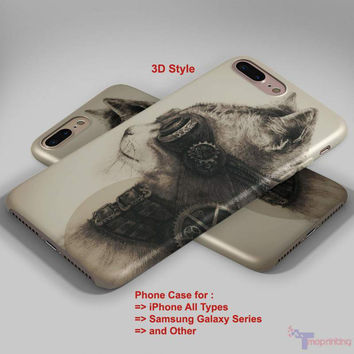 Steampunk Cat - Personalized iPhone 7 Case, iPhone 6/6S Plus, 5 5S SE, 7S Plus, Samsung Galaxy S5 S6 S7 S8 Case, and Other