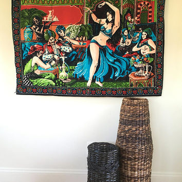 Vintage Man Cave Wall Tapestry, Cool Wall Tapestry for Guys, Printed Velvet Wall Hanging, Belly Dancer Decor, Harem Rug, Hippee Tapestries