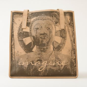 """Imagine"" Asian statue close-up photo leather tote"