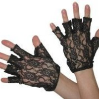 80's Black Lace Fingerless Gloves