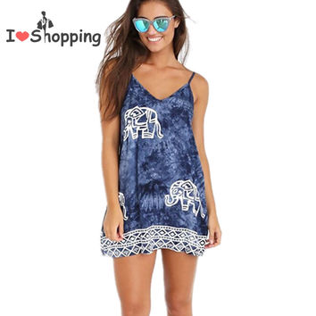 Women Elephant Print Cami Dress Floral Ethnic Casual Dresses Boho Gypsy