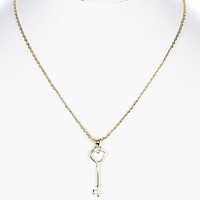 NECKLACE / KEY / LINK / METAL / 1 1/3 INCH DROP / 16 INCH LONG / NICKEL AND LEAD COMPLIANT