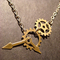Steampunk Gear and Cog with Watch Hands Lariat Style Necklace