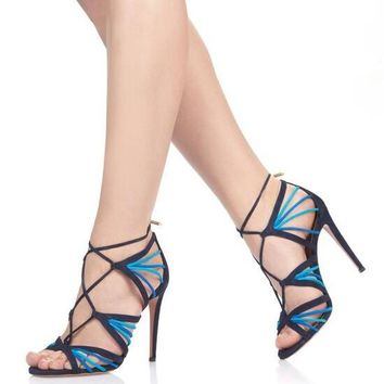 Blue Stretch Straps Open Toe Sandals Cut Out Lace Up High Heels Shoes