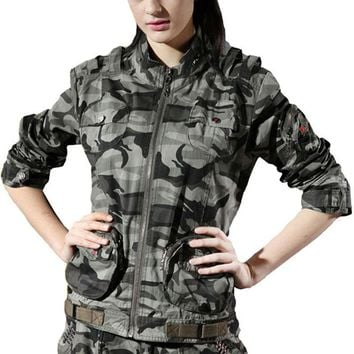 Camo Cotton Stand Collar Climbing Camping Military Outdoor Jacket Women Tactical Hunting Coat Sport Hiking