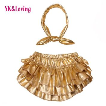 Newborn Baby Bloomers Gold Shorts + Headband 2pcs/Set Ruffle Leather Silver PP Girl bloomer Pants Infant Toddler Diaper Cover