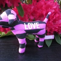 Victoria's Secret Love Pink Collectible Hot Pink Striped Plush Stuffed Animal Puppy Dog