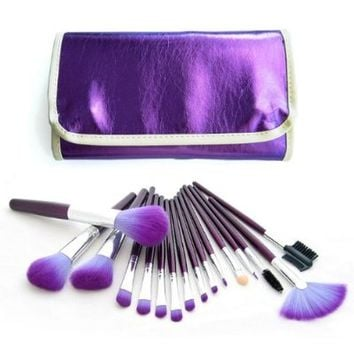 Dragonpad Professional 16 PCS Makeup Brushes Kit with Purple Leather Case Pouch Bag