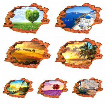 3D Poster Stereo Scenery Stickers Creative Personality Stickers PVC Wall Stickers Mural Wall Decals Home Decor