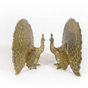 Brass Peacock Bookend Set Bird Bookends Mid Century Decor